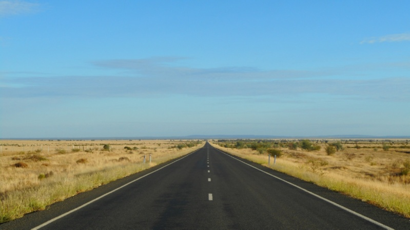 Endless straight roads in outback